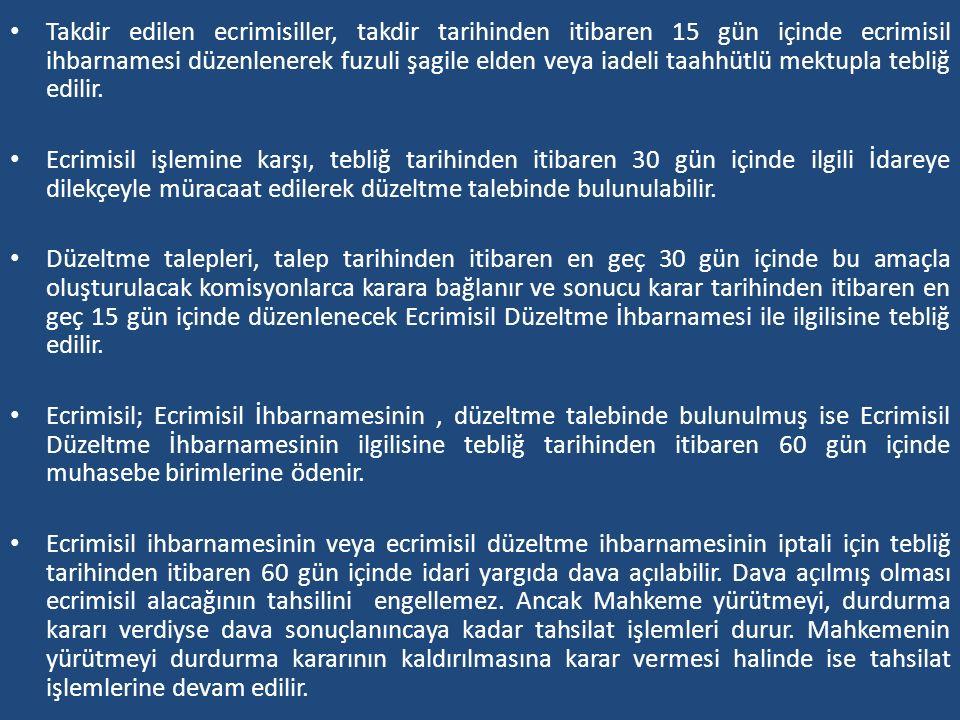 Takdir edilen ecrimisiller, takdir tarihinden itibaren 15 gün içinde ecrimisil ihbarnamesi düzenlenerek fuzuli şagile elden veya iadeli taahhütlü mektupla tebliğ edilir.