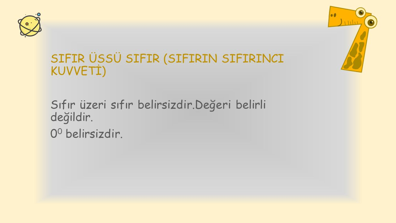 SIFIR ÜSSÜ SIFIR (SIFIRIN SIFIRINCI KUVVETİ)