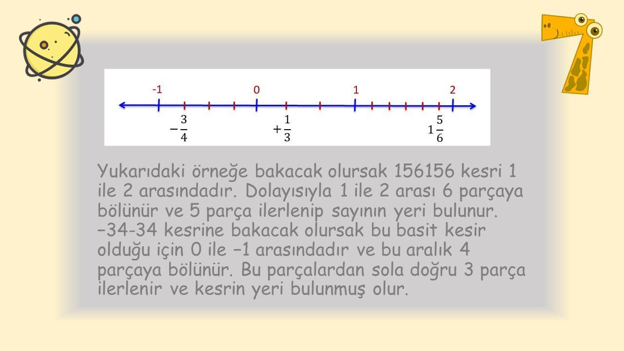 Yukarıdaki örneğe bakacak olursak 156156 kesri 1 ile 2 arasındadır