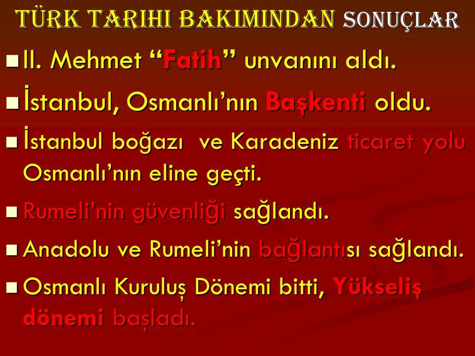 Türk Tarihi BakImIndan Sonuçlar