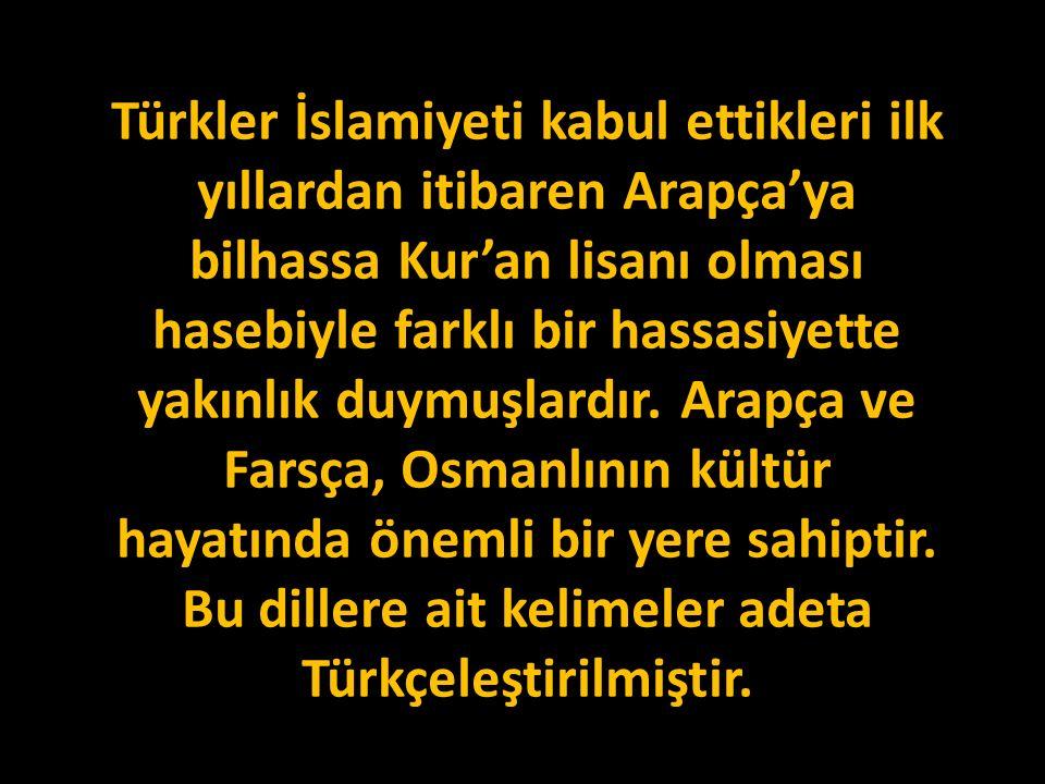 Türkler İslamiyeti kabul ettikleri ilk yıllardan itibaren Arapça'ya bilhassa Kur'an lisanı olması hasebiyle farklı bir hassasiyette yakınlık duymuşlardır.