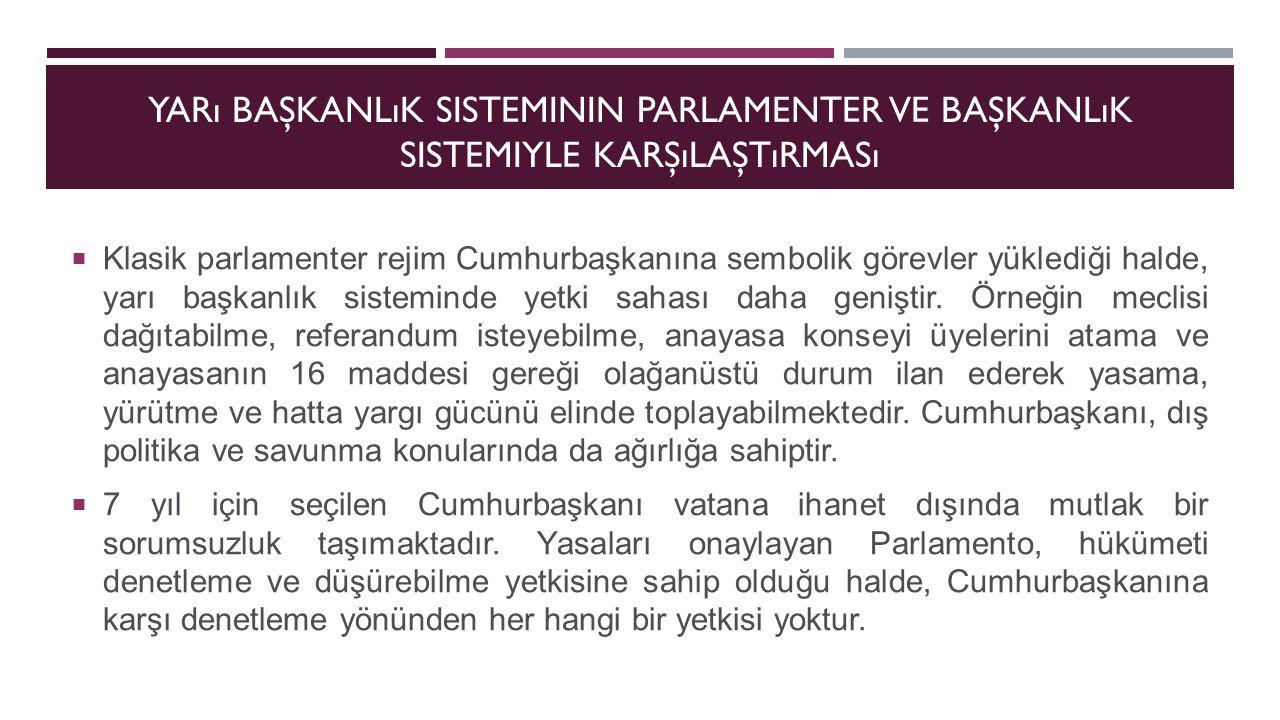 Yarı başkanlık sisteminin parlamenter ve başkanlık sistemiyle karşılaştırması