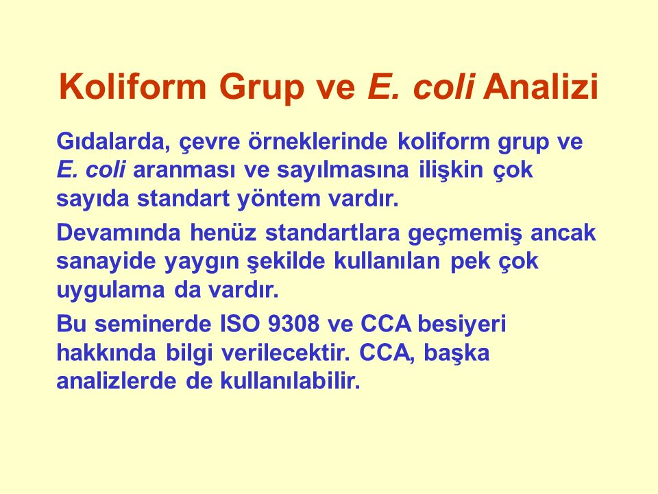 Koliform Grup ve E. coli Analizi