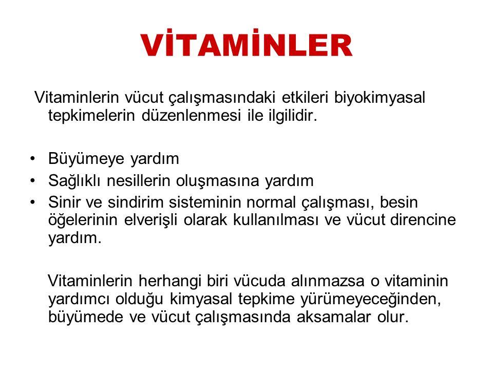 VİTAMİNLER Vitaminlerin vücut çalışmasındaki etkileri biyokimyasal tepkimelerin düzenlenmesi ile ilgilidir.