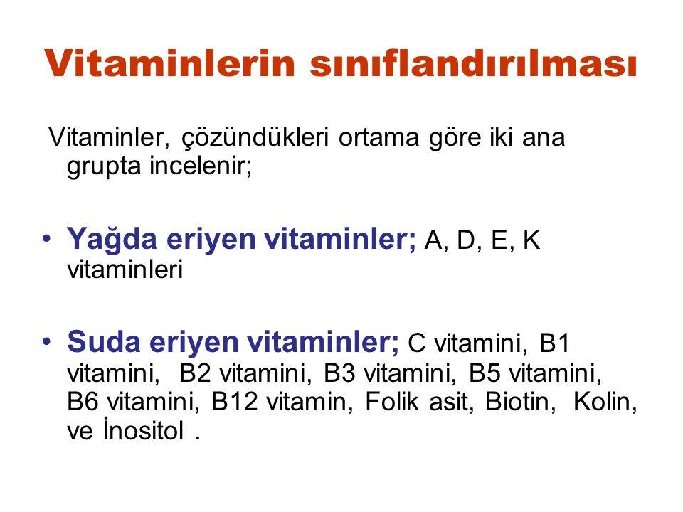 Vitaminlerin sınıflandırılması