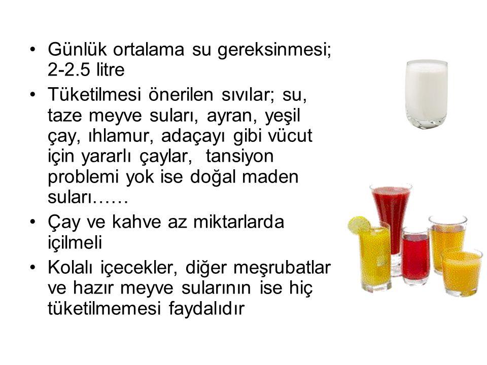 Günlük ortalama su gereksinmesi; 2-2.5 litre