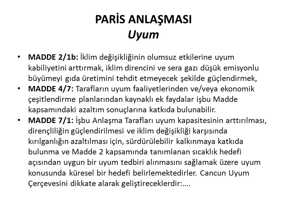 PARİS ANLAŞMASI Uyum