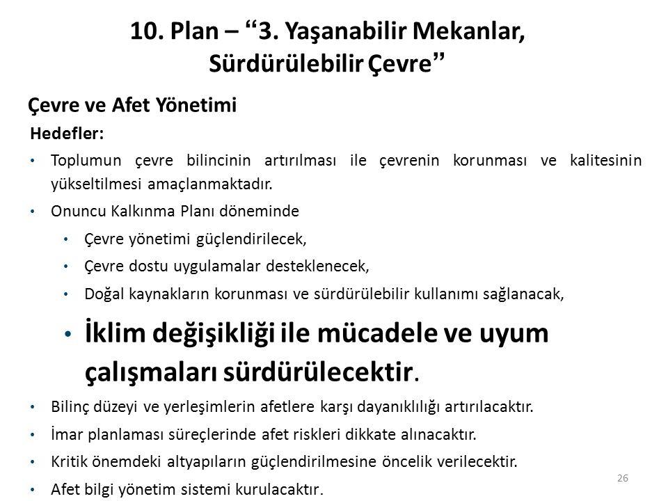 10. Plan – 3. Yaşanabilir Mekanlar, Sürdürülebilir Çevre