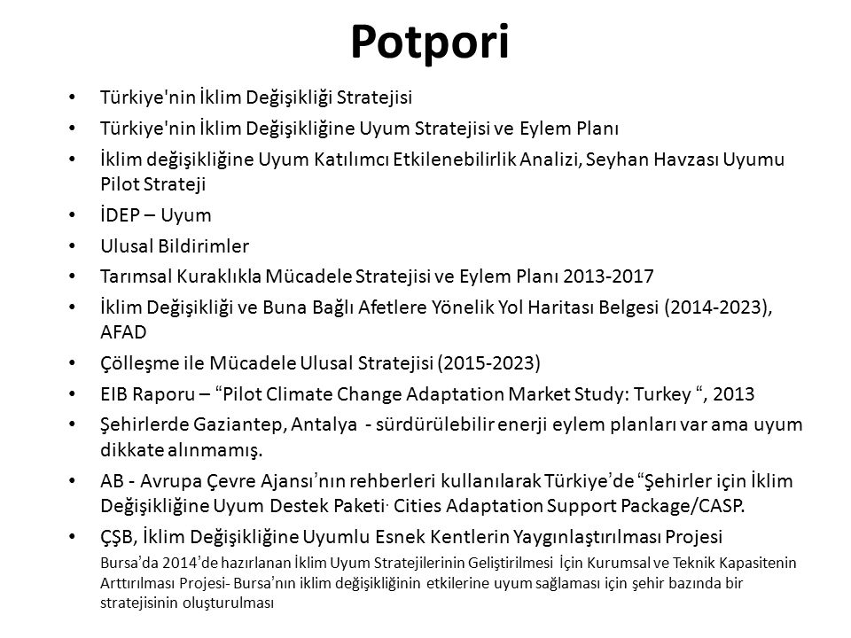 Potpori Türkiye nin İklim Değişikliği Stratejisi
