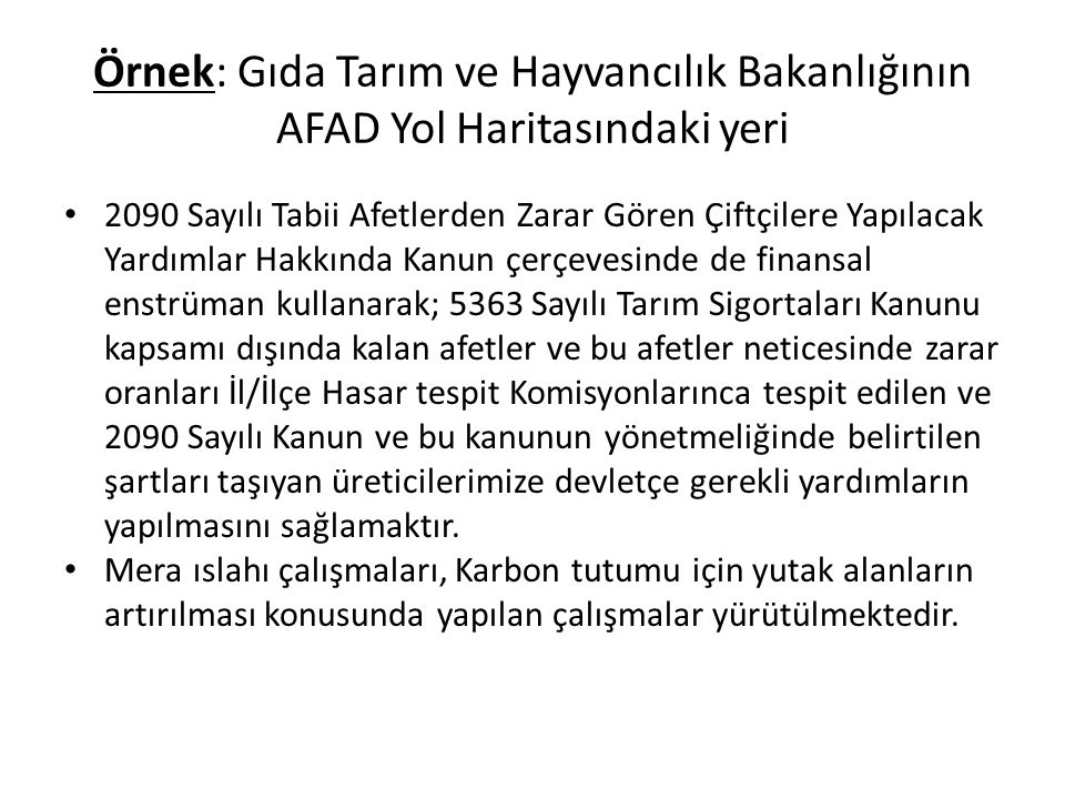 Örnek: Gıda Tarım ve Hayvancılık Bakanlığının AFAD Yol Haritasındaki yeri