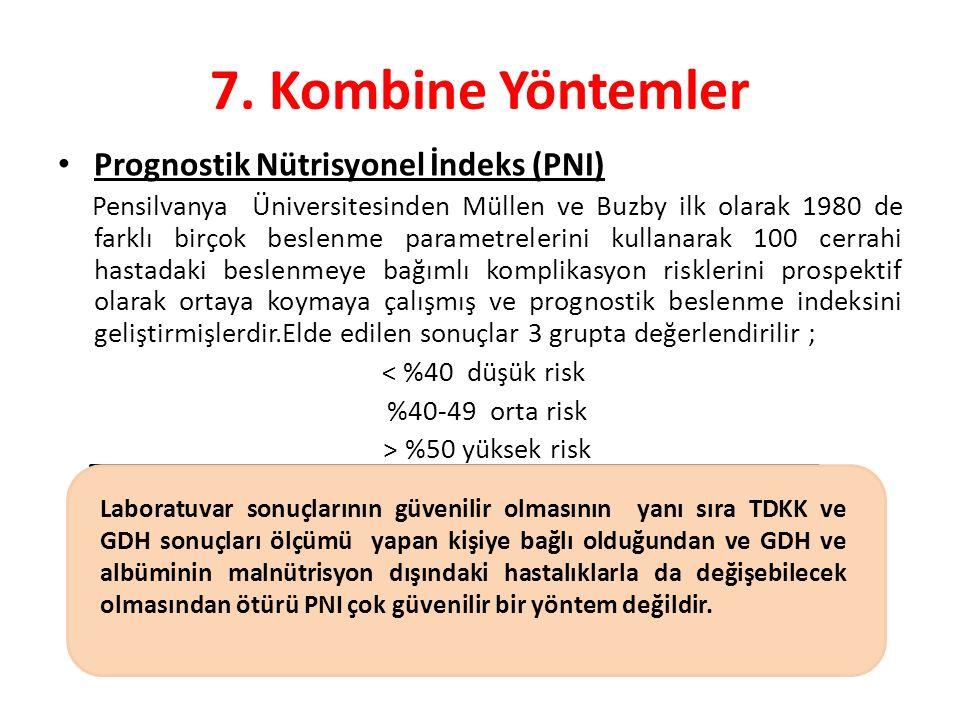 7. Kombine Yöntemler Prognostik Nütrisyonel İndeks (PNI)