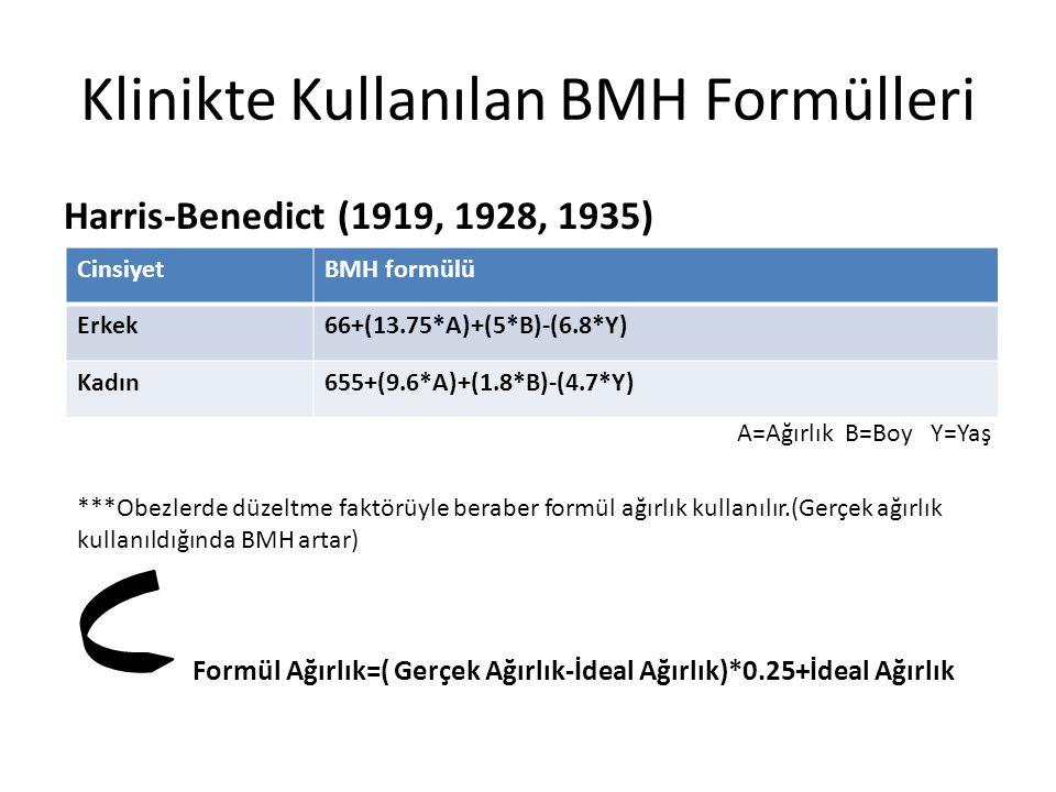 Klinikte Kullanılan BMH Formülleri