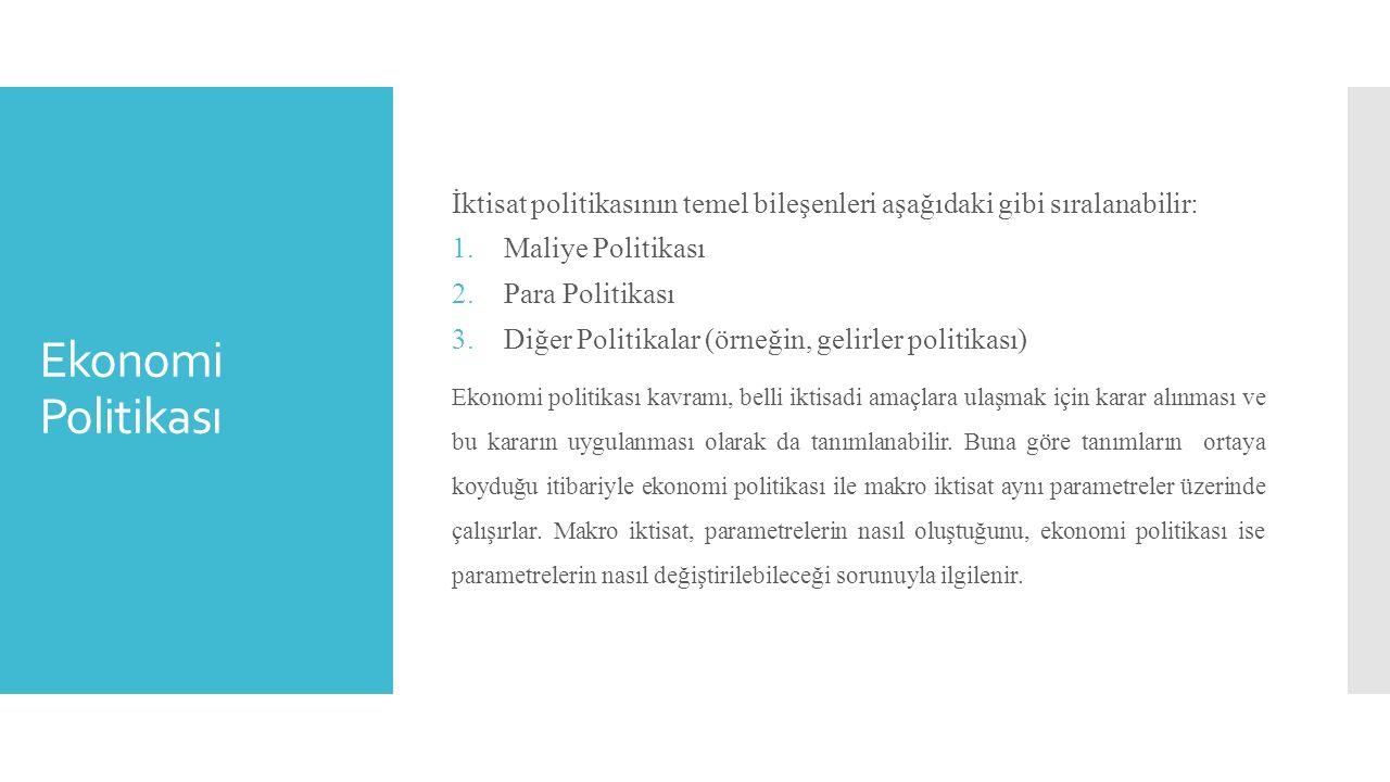 İktisat politikasının temel bileşenleri aşağıdaki gibi sıralanabilir: