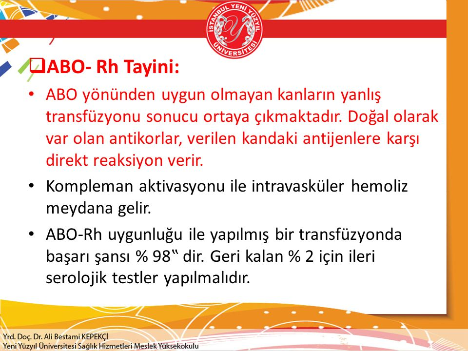 ABO- Rh Tayini: