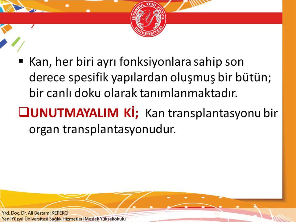 UNUTMAYALIM Kİ; Kan transplantasyonu bir organ transplantasyonudur.