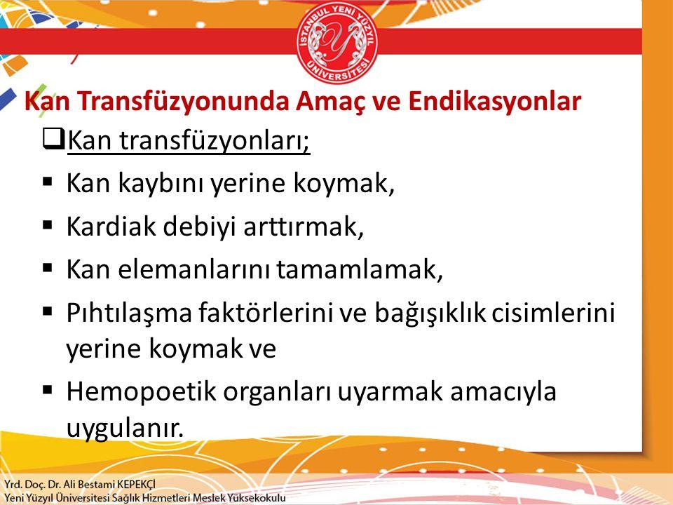 Kan Transfüzyonunda Amaç ve Endikasyonlar