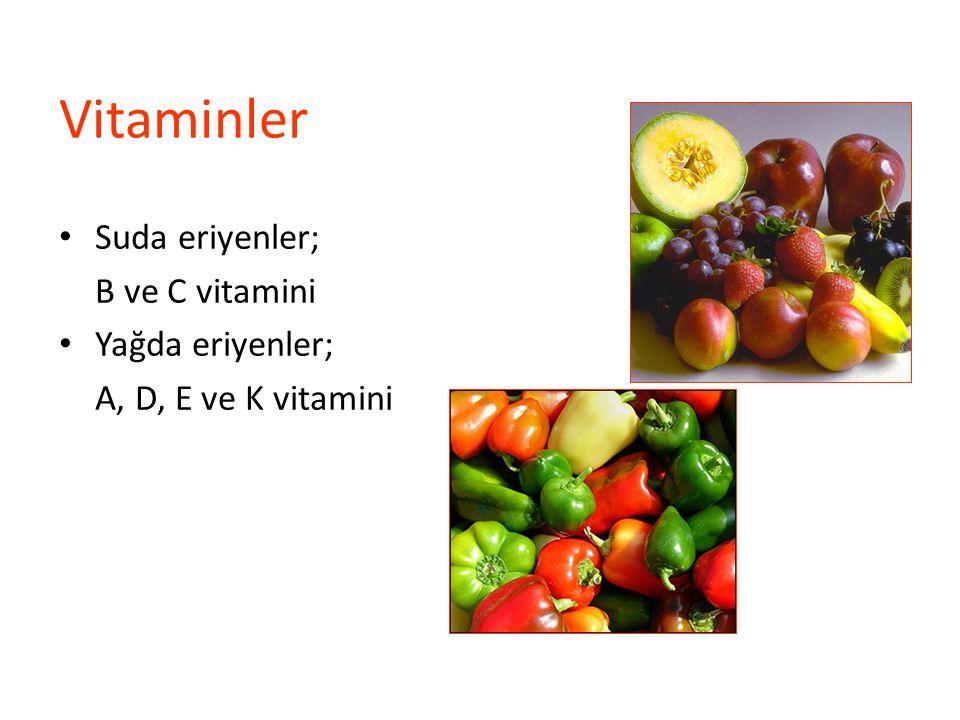 Vitaminler Suda eriyenler; B ve C vitamini Yağda eriyenler;
