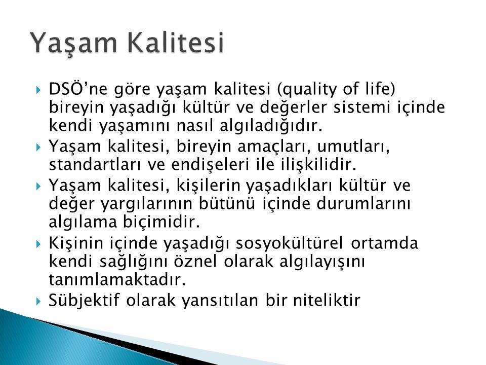 Yaşam Kalitesi DSÖ'ne göre yaşam kalitesi (quality of life) bireyin yaşadığı kültür ve değerler sistemi içinde kendi yaşamını nasıl algıladığıdır.
