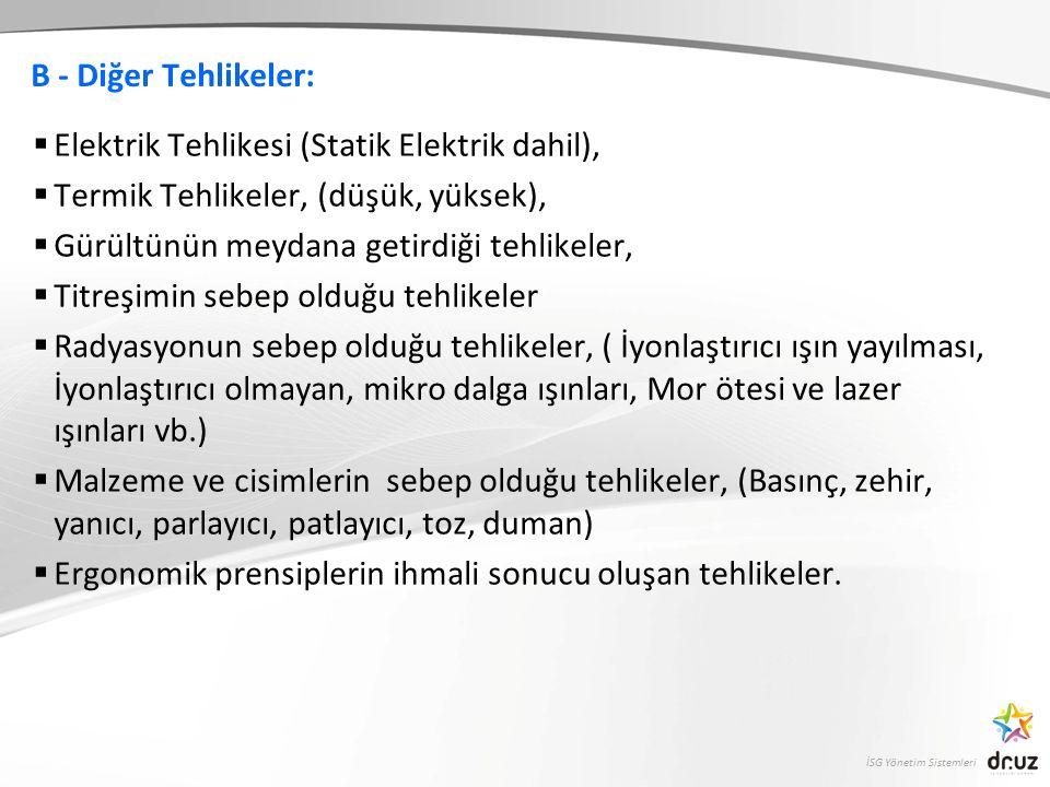 B - Diğer Tehlikeler: Elektrik Tehlikesi (Statik Elektrik dahil), Termik Tehlikeler, (düşük, yüksek),