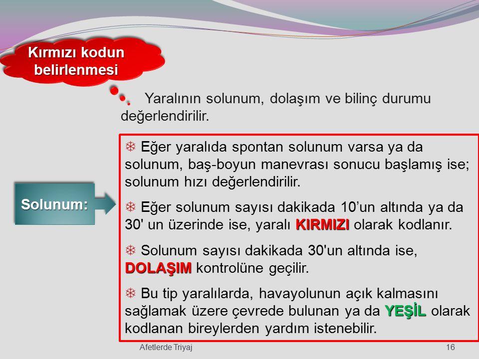 Kırmızı kodun belirlenmesi Solunum: