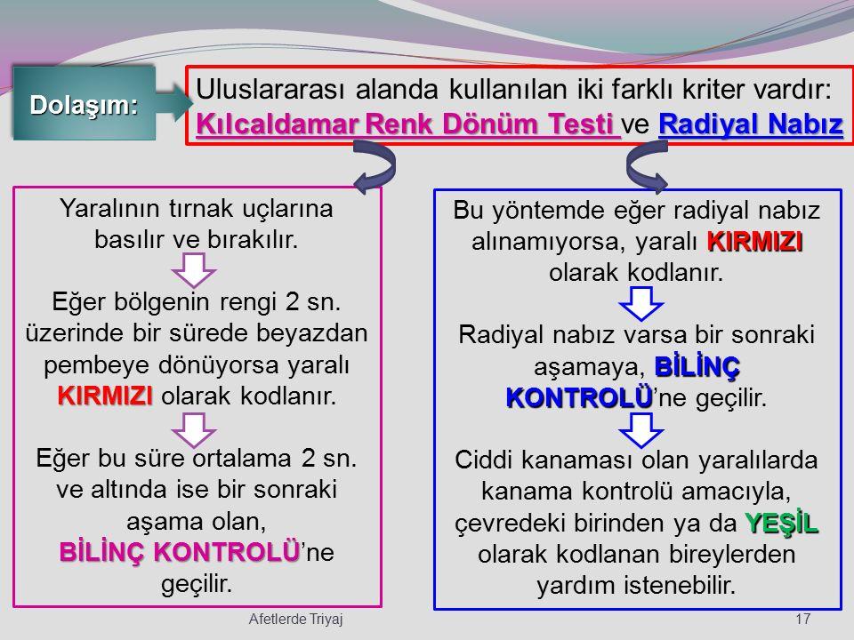 Dolaşım: Uluslararası alanda kullanılan iki farklı kriter vardır: Kılcaldamar Renk Dönüm Testi ve Radiyal Nabız.