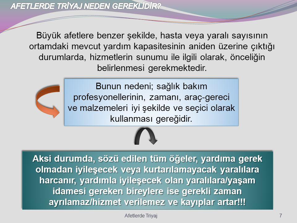 AFETLERDE TRİYAJ NEDEN GEREKLİDİR