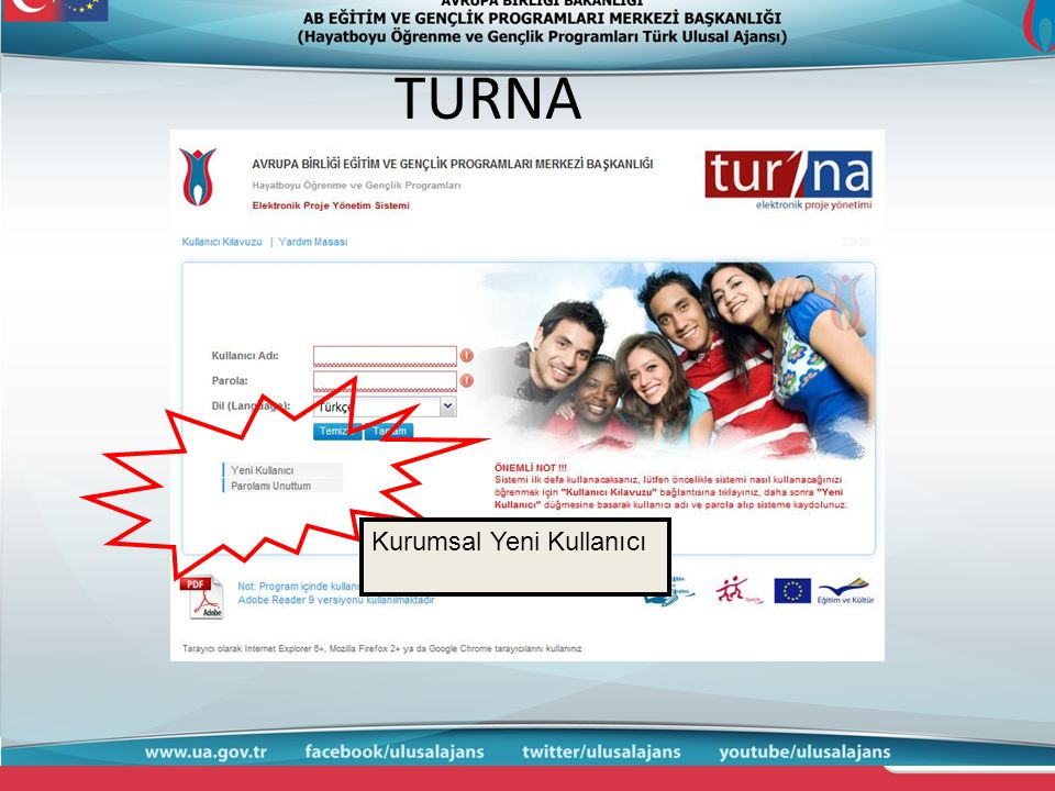 TURNA Kurumsal Yeni Kullanıcı