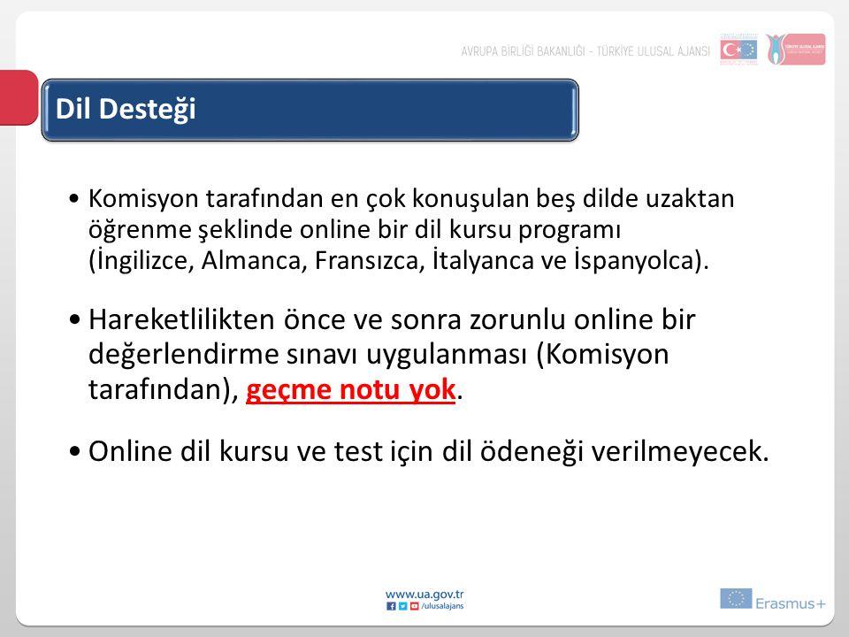 Online dil kursu ve test için dil ödeneği verilmeyecek.