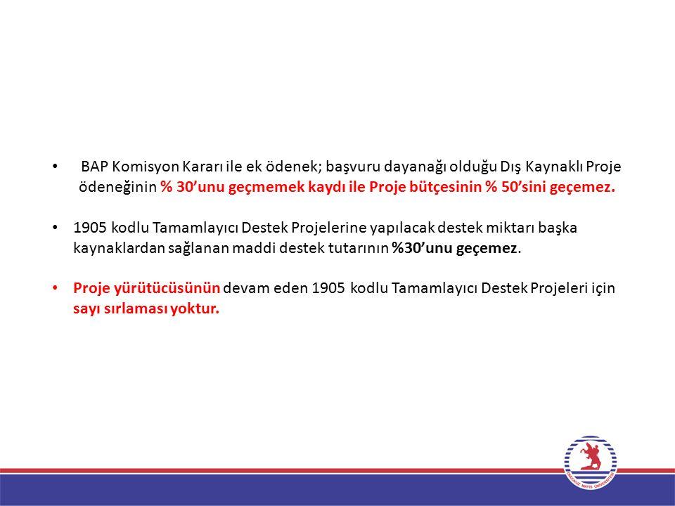 BAP Komisyon Kararı ile ek ödenek; başvuru dayanağı olduğu Dış Kaynaklı Proje
