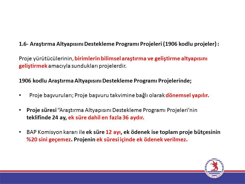 1.6- Araştırma Altyapısını Destekleme Programı Projeleri (1906 kodlu projeler) :