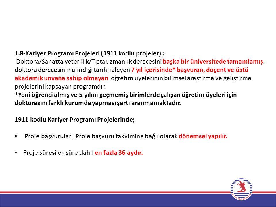 1.8-Kariyer Programı Projeleri (1911 kodlu projeler) :