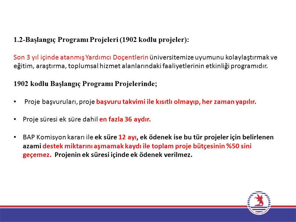1.2-Başlangıç Programı Projeleri (1902 kodlu projeler):