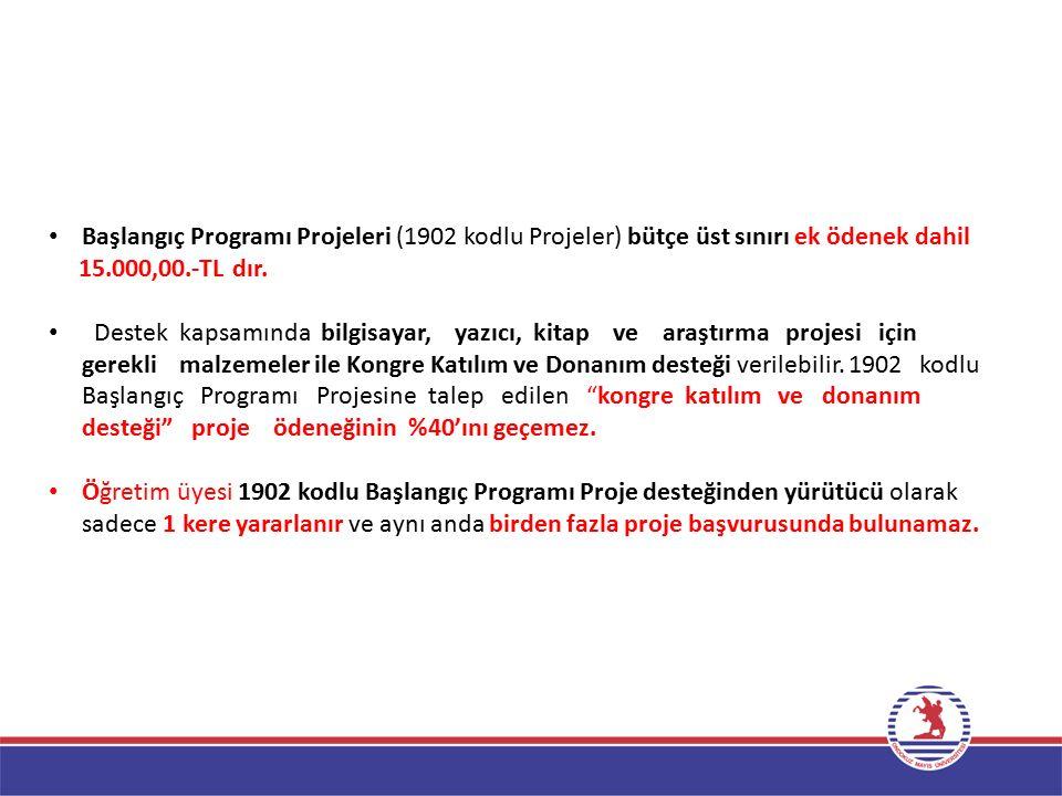 Başlangıç Programı Projeleri (1902 kodlu Projeler) bütçe üst sınırı ek ödenek dahil