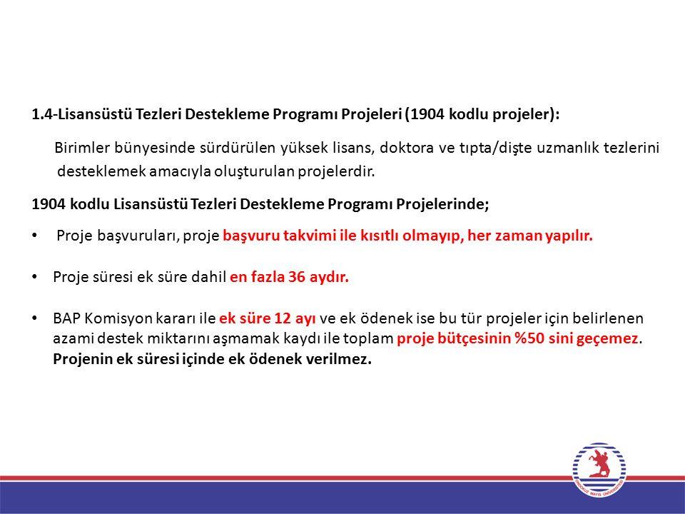 1.4-Lisansüstü Tezleri Destekleme Programı Projeleri (1904 kodlu projeler):
