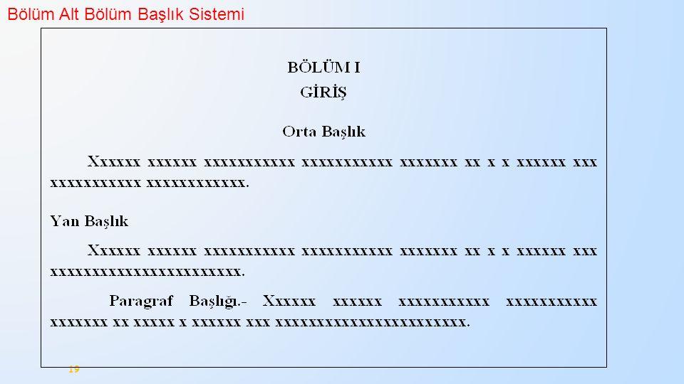 Bölüm Alt Bölüm Başlık Sistemi