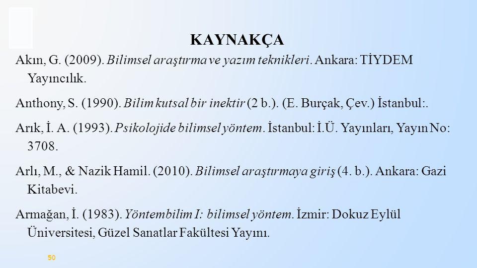 KAYNAKÇA Akın, G. (2009). Bilimsel araştırma ve yazım teknikleri. Ankara: TİYDEM Yayıncılık.