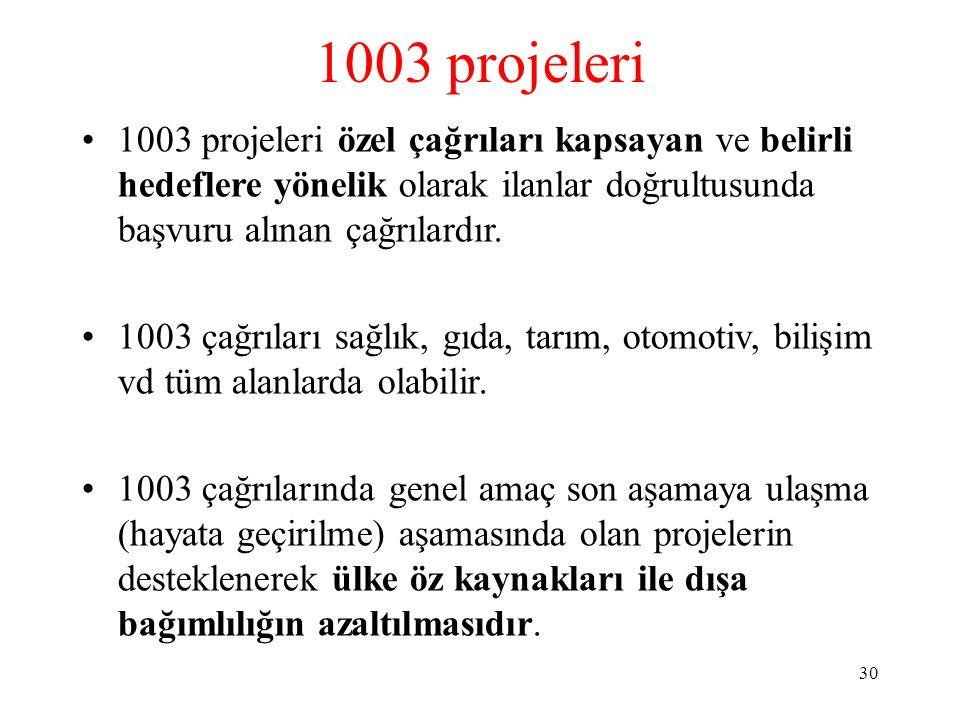 1003 projeleri 1003 projeleri özel çağrıları kapsayan ve belirli hedeflere yönelik olarak ilanlar doğrultusunda başvuru alınan çağrılardır.