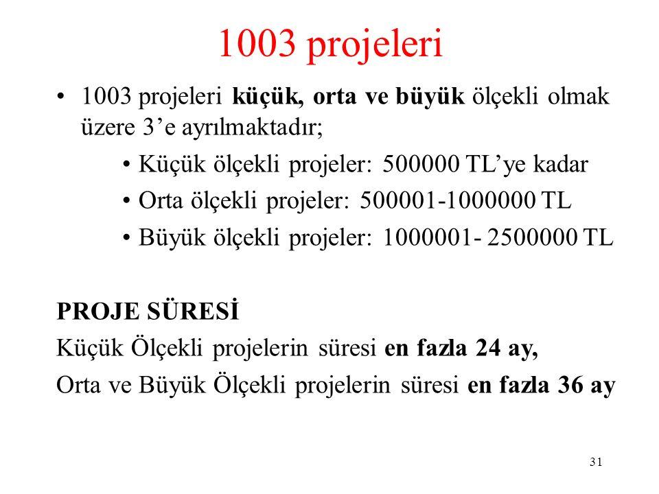1003 projeleri 1003 projeleri küçük, orta ve büyük ölçekli olmak üzere 3'e ayrılmaktadır; Küçük ölçekli projeler: 500000 TL'ye kadar.