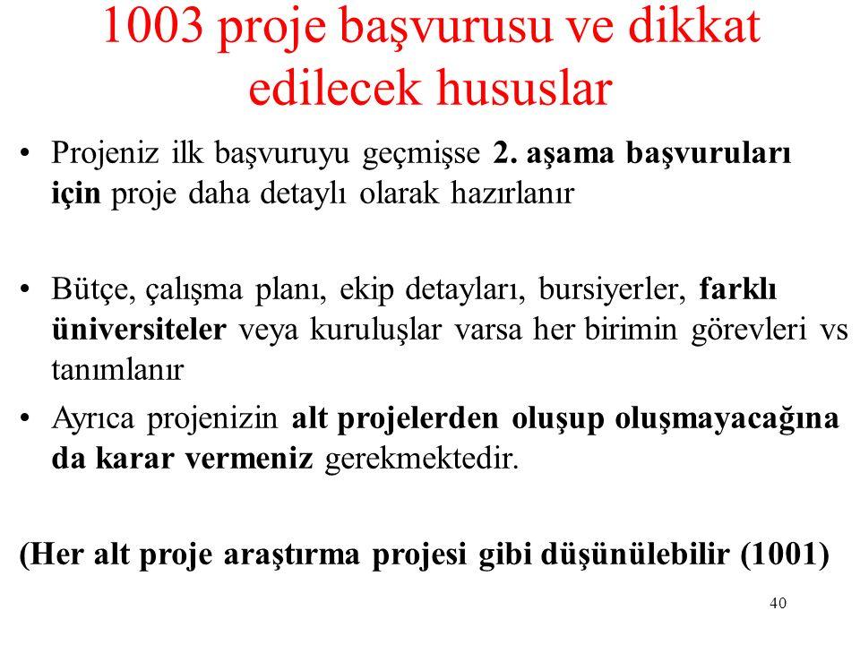 1003 proje başvurusu ve dikkat edilecek hususlar