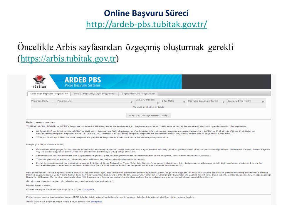 Online Başvuru Süreci http://ardeb-pbs.tubitak.gov.tr/ Öncelikle Arbis sayfasından özgeçmiş oluşturmak gerekli (https://arbis.tubitak.gov.tr)
