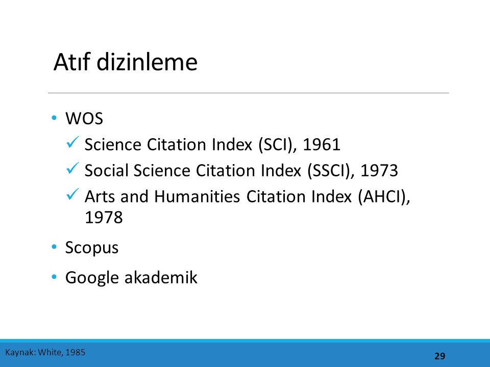 Atıf dizinleme WOS Science Citation Index (SCI), 1961