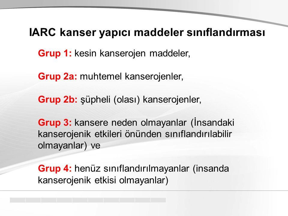 IARC kanser yapıcı maddeler sınıflandırması