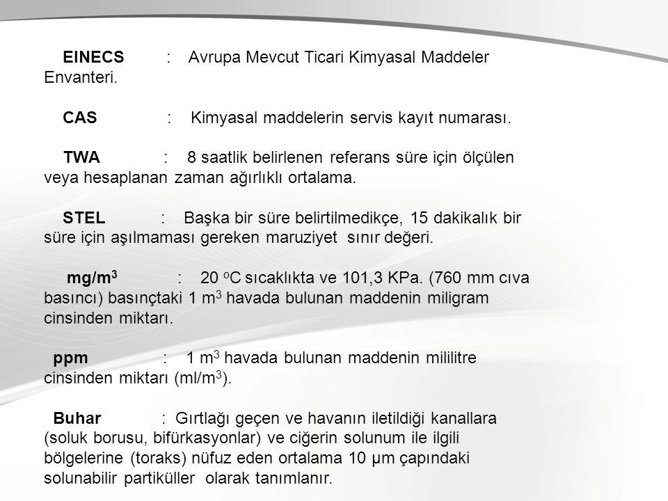 EINECS : Avrupa Mevcut Ticari Kimyasal Maddeler Envanteri. CAS : Kimyasal maddelerin servis kayıt numarası.
