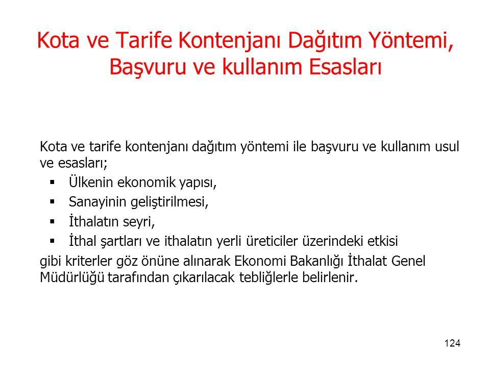 Kota ve Tarife Kontenjanı Dağıtım Yöntemi, Başvuru ve kullanım Esasları