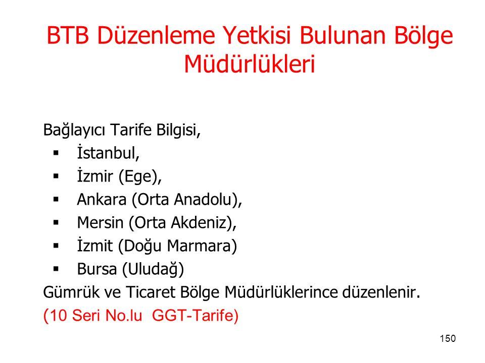 BTB Düzenleme Yetkisi Bulunan Bölge Müdürlükleri