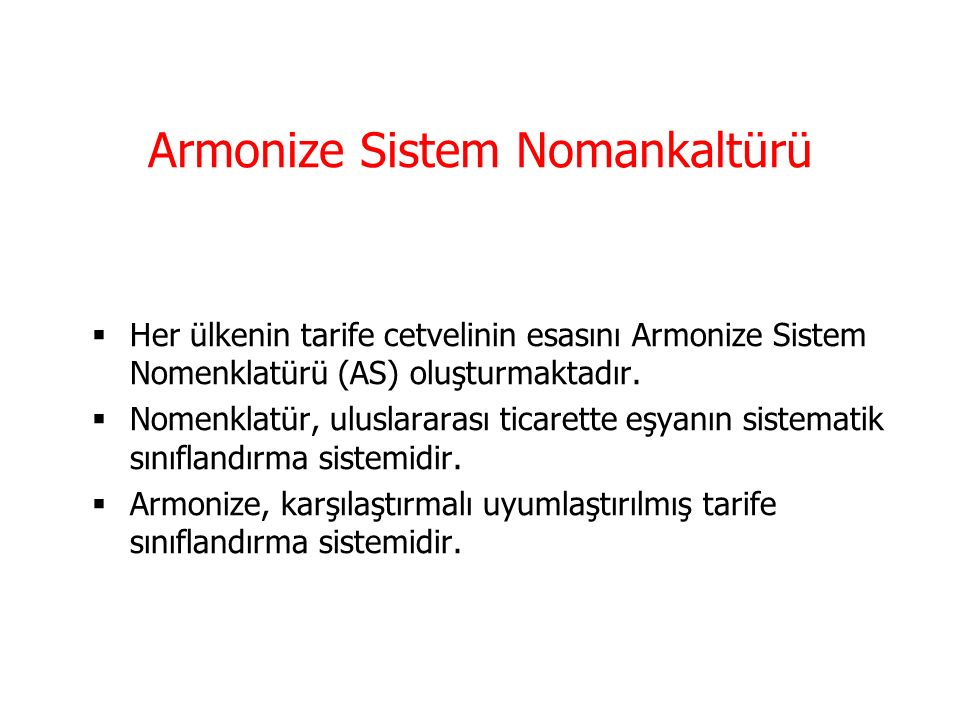 Armonize Sistem Nomankaltürü