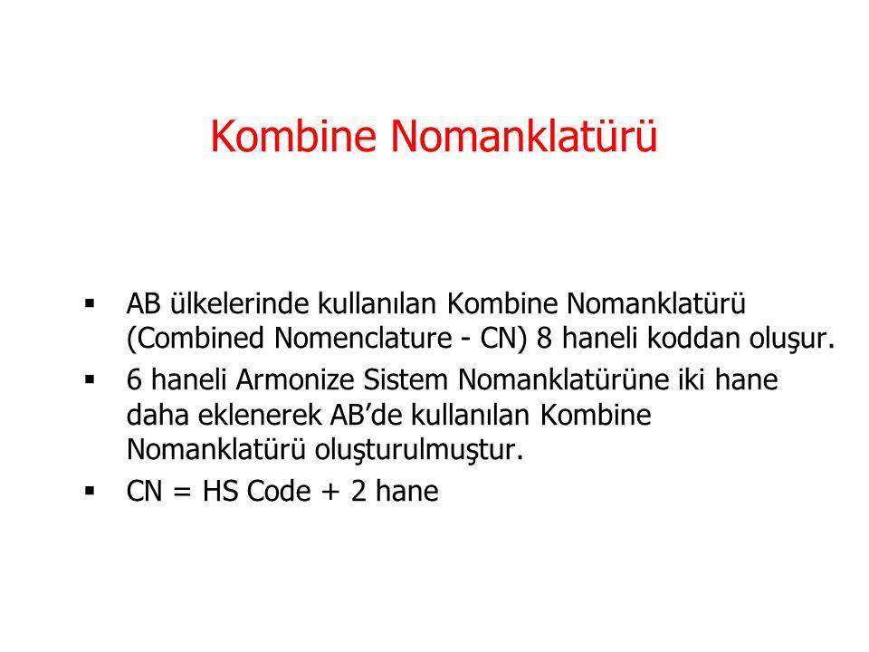Kombine Nomanklatürü AB ülkelerinde kullanılan Kombine Nomanklatürü (Combined Nomenclature - CN) 8 haneli koddan oluşur.