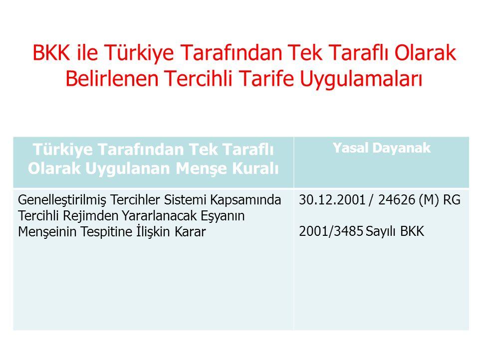 Türkiye Tarafından Tek Taraflı Olarak Uygulanan Menşe Kuralı