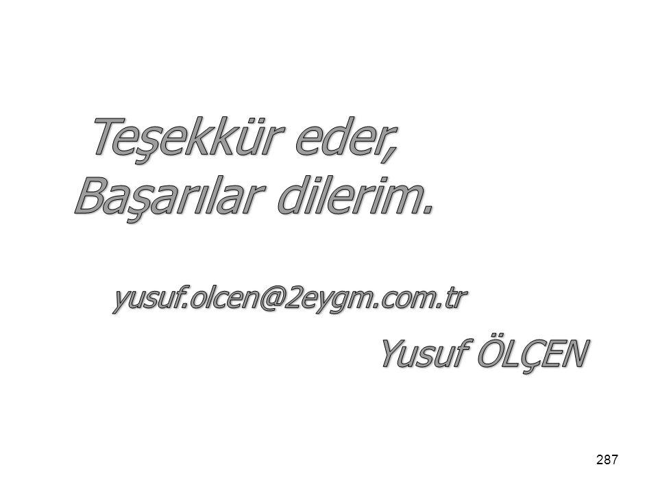 Teşekkür eder, Başarılar dilerim. yusuf.olcen@2eygm.com.tr Yusuf ÖLÇEN