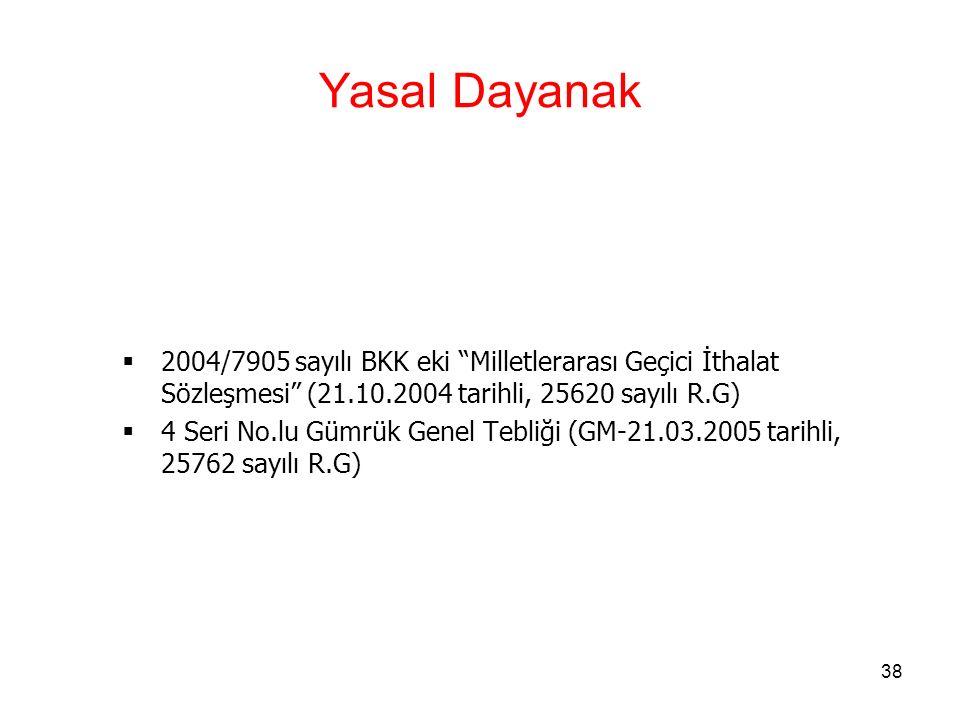 Yasal Dayanak 2004/7905 sayılı BKK eki Milletlerarası Geçici İthalat Sözleşmesi (21.10.2004 tarihli, 25620 sayılı R.G)
